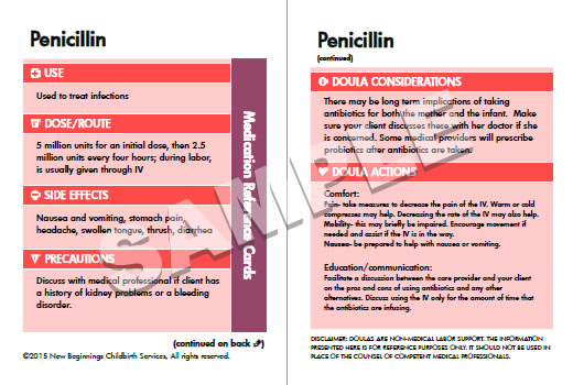 Medication Reference Cards – The Doula Shop at New Beginnings