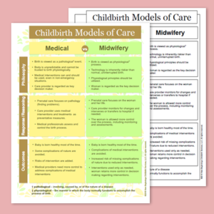 Childbirth Models of Care: Medical vs. Midwifery – handout